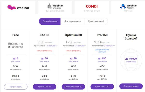 тарифы webinar-ru
